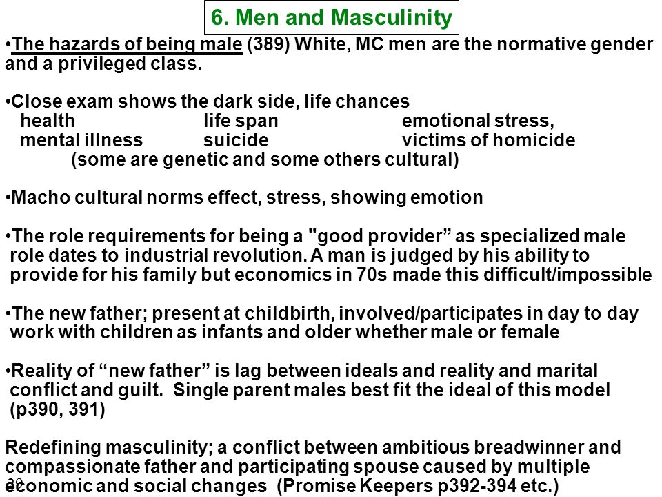 The hazards of being male (389) White, MC men are the normative gender and a privileged class.