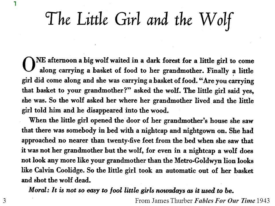 From James Thurber Fables For Our Time 19433