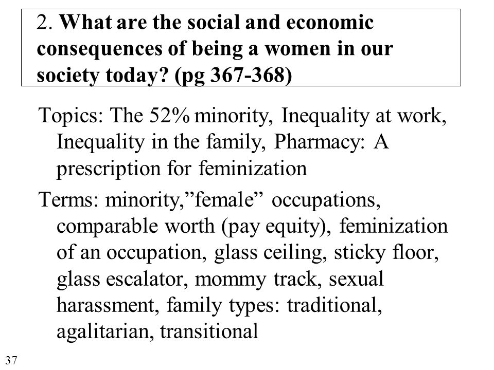 2. What are the social and economic consequences of being a women in our society today.