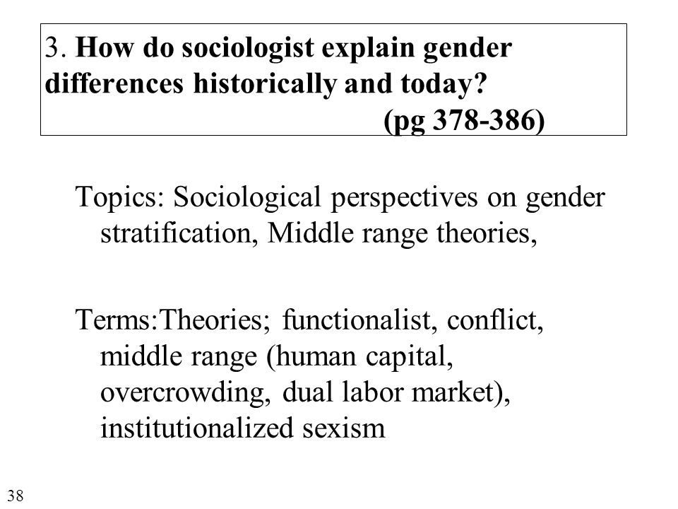 3. How do sociologist explain gender differences historically and today.