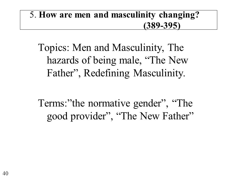 5.How are men and masculinity changing.