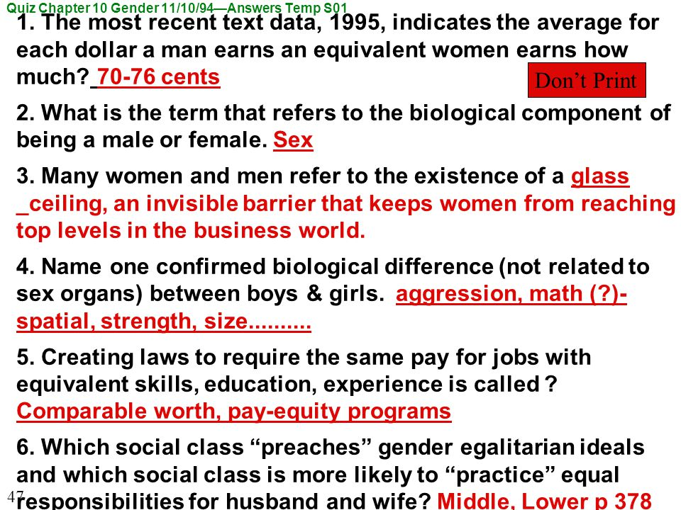 Quiz Chapter 10 Gender 11/10/94—Answers Temp S01 1.