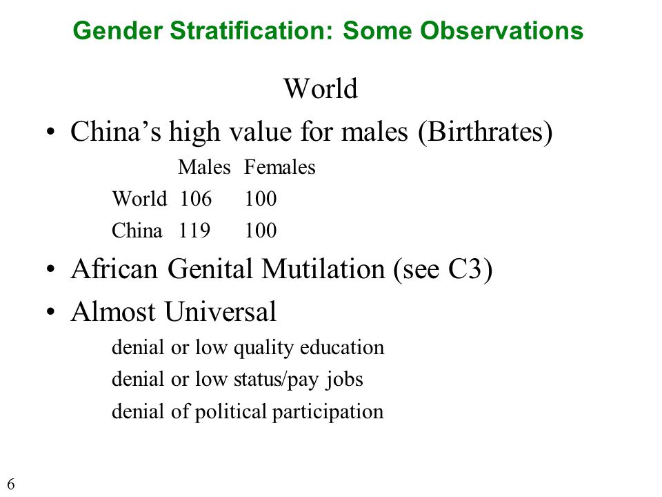 Gender Stratification: Some Observations World China's high value for males (Birthrates) MalesFemales World 106100 China119100 African Genital Mutilation (see C3) Almost Universal denial or low quality education denial or low status/pay jobs denial of political participation 6