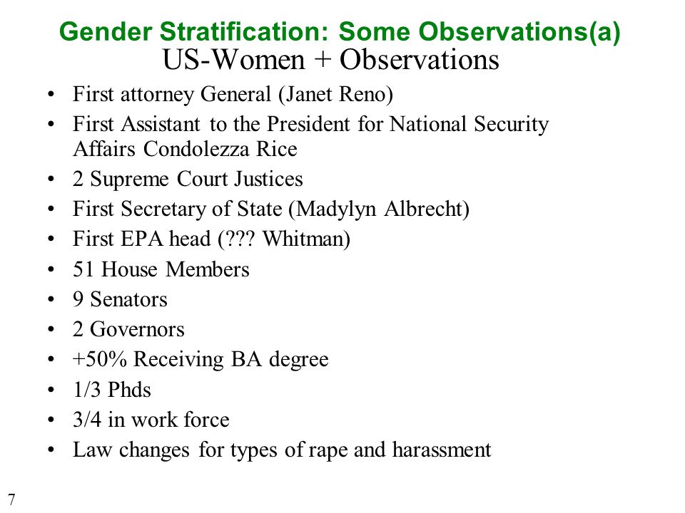 Gender Stratification: Some Observations(a) US-Women + Observations First attorney General (Janet Reno) First Assistant to the President for National Security Affairs Condolezza Rice 2 Supreme Court Justices First Secretary of State (Madylyn Albrecht) First EPA head ( .