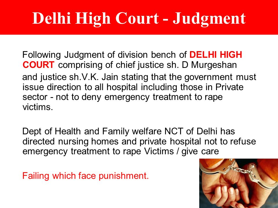 Delhi High Court - Judgment Following Judgment of division bench of DELHI HIGH COURT comprising of chief justice sh.