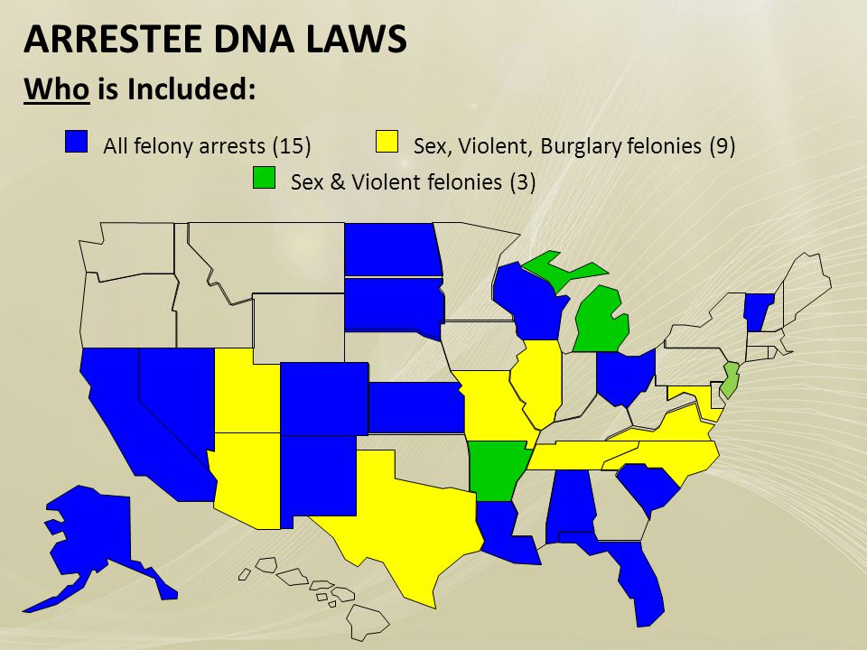 ARRESTEE DNA LAWS Who is Included: Sex, Violent, Burglary felonies (9)All felony arrests (15) Sex & Violent felonies (3)