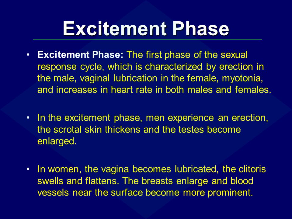 Excitement Phase Excitement Phase: The first phase of the sexual response cycle, which is characterized by erection in the male, vaginal lubrication i