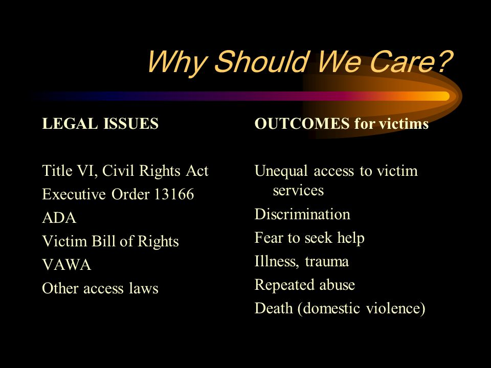 Why Should We Care? LEGAL ISSUES Title VI, Civil Rights Act Executive Order 13166 ADA Victim Bill of Rights VAWA Other access laws OUTCOMES for victim