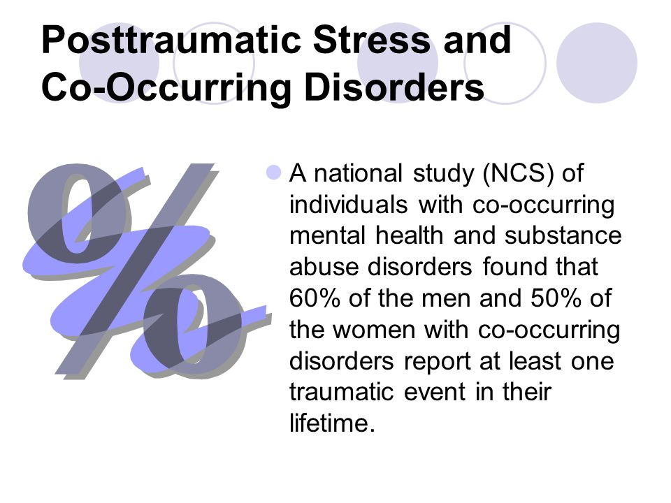 Posttraumatic Stress and Co-Occurring Disorders A national study (NCS) of individuals with co-occurring mental health and substance abuse disorders fo