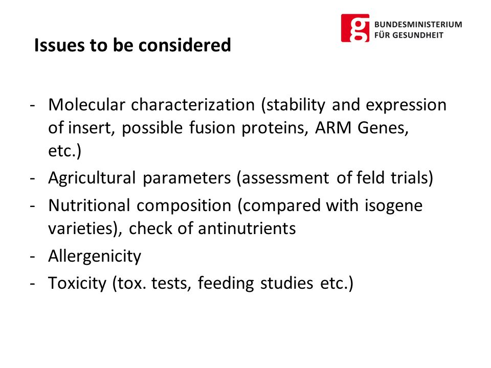 Environmental Risk Assessment Assessment of possible long term effects on humans, animals and the environment -Effects of release on the receiving environment -Effects of possible gene transfer, outcrossing, spread of pollen etc.