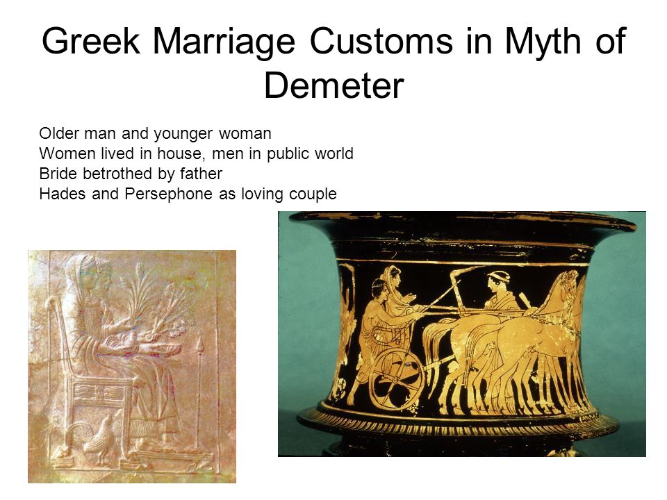 Greek Marriage Customs in Myth of Demeter Older man and younger woman Women lived in house, men in public world Bride betrothed by father Hades and Persephone as loving couple
