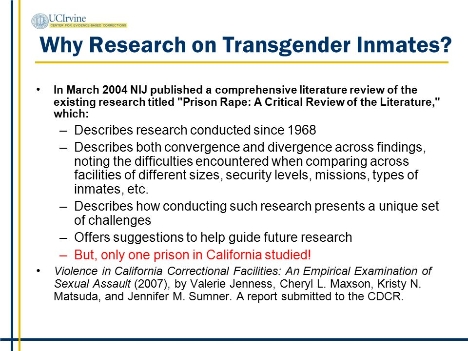 Why Research on Transgender Inmates.