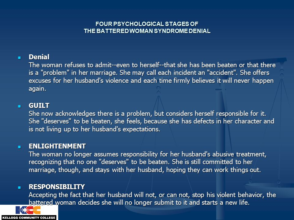 FOUR PSYCHOLOGICAL STAGES OF THE BATTERED WOMAN SYNDROME DENIAL Denial The woman refuses to admit--even to herself--that she has been beaten or that there is a problem in her marriage.