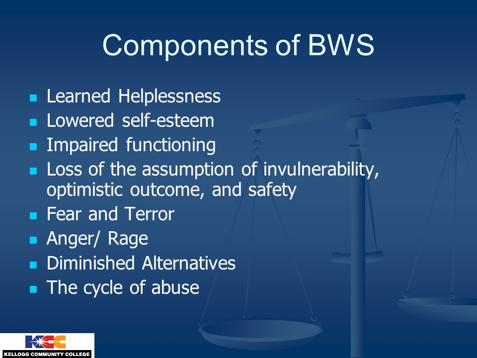 Components of BWS Learned Helplessness Lowered self-esteem Impaired functioning Loss of the assumption of invulnerability, optimistic outcome, and safety Fear and Terror Anger/ Rage Diminished Alternatives The cycle of abuse