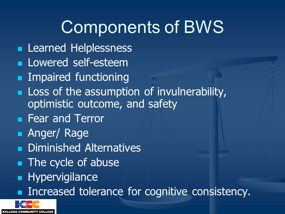 Components of BWS Learned Helplessness Lowered self-esteem Impaired functioning Loss of the assumption of invulnerability, optimistic outcome, and safety Fear and Terror Anger/ Rage Diminished Alternatives The cycle of abuse Hypervigilance Increased tolerance for cognitive consistency.