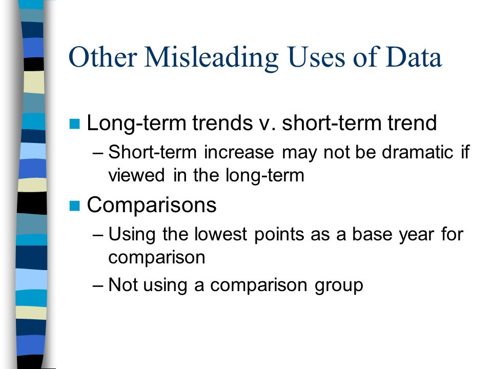 Other Misleading Uses of Data Long-term trends v. short-term trend –Short-term increase may not be dramatic if viewed in the long-term Comparisons –Us