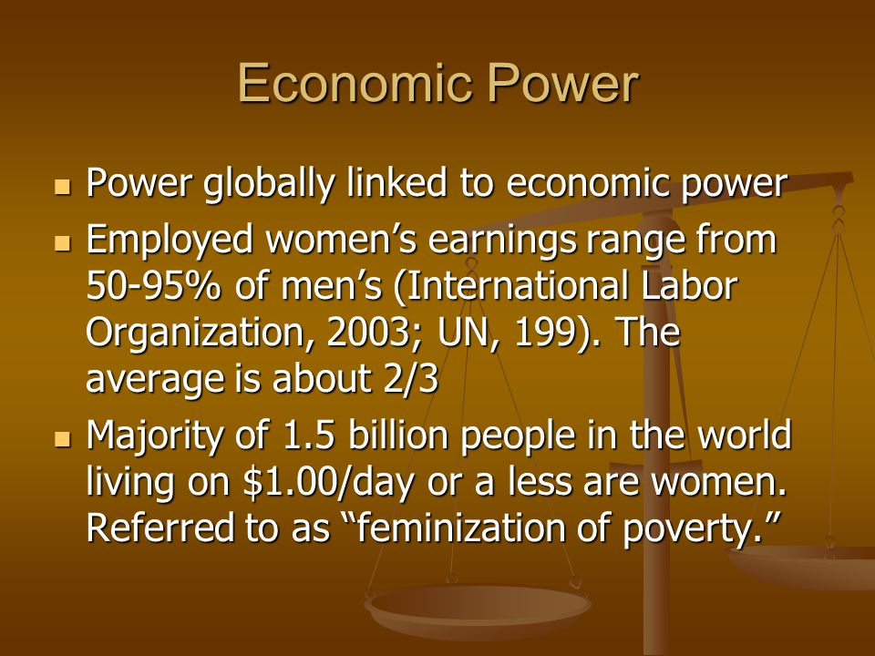 Political Power In most countries, voting rights have only been awarded to women in the last 30 years In most countries, voting rights have only been awarded to women in the last 30 years 15% of the world's lawmakers are female (2003) 15% of the world's lawmakers are female (2003) US ranks 59 th among 125 countries with female representatives.