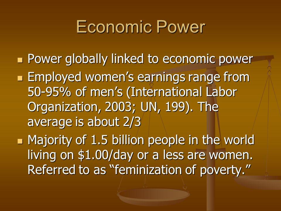 Economic Power Power globally linked to economic power Power globally linked to economic power Employed women's earnings range from 50-95% of men's (I