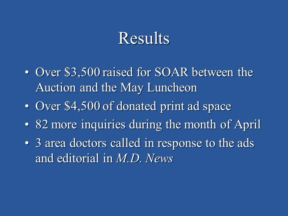Results Over $3,500 raised for SOAR between the Auction and the May LuncheonOver $3,500 raised for SOAR between the Auction and the May Luncheon Over $4,500 of donated print ad spaceOver $4,500 of donated print ad space 82 more inquiries during the month of April82 more inquiries during the month of April 3 area doctors called in response to the ads and editorial in M.D.