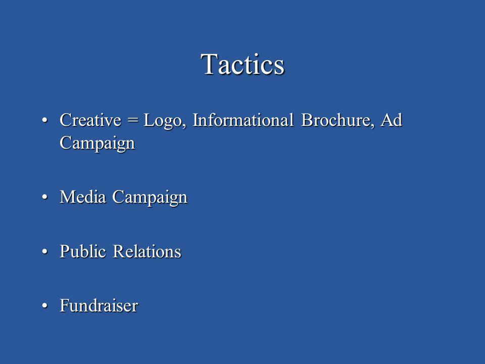 Tactics Creative = Logo, Informational Brochure, Ad CampaignCreative = Logo, Informational Brochure, Ad Campaign Media CampaignMedia Campaign Public RelationsPublic Relations FundraiserFundraiser