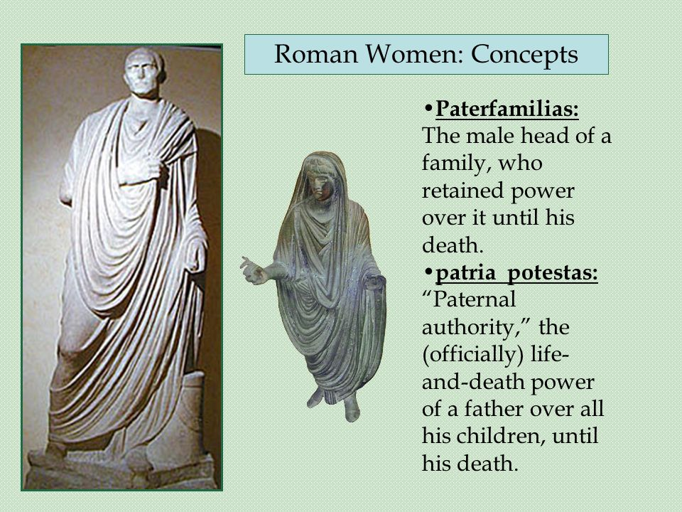 Paterfamilias: The male head of a family, who retained power over it until his death.