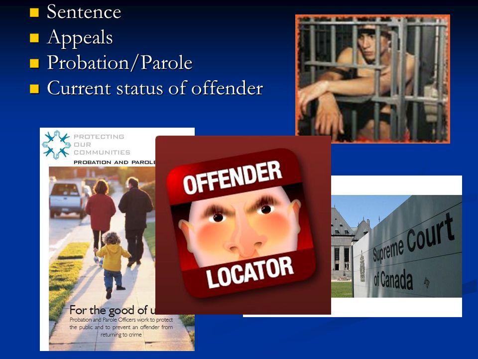 Sentence Sentence Appeals Appeals Probation/Parole Probation/Parole Current status of offender Current status of offender