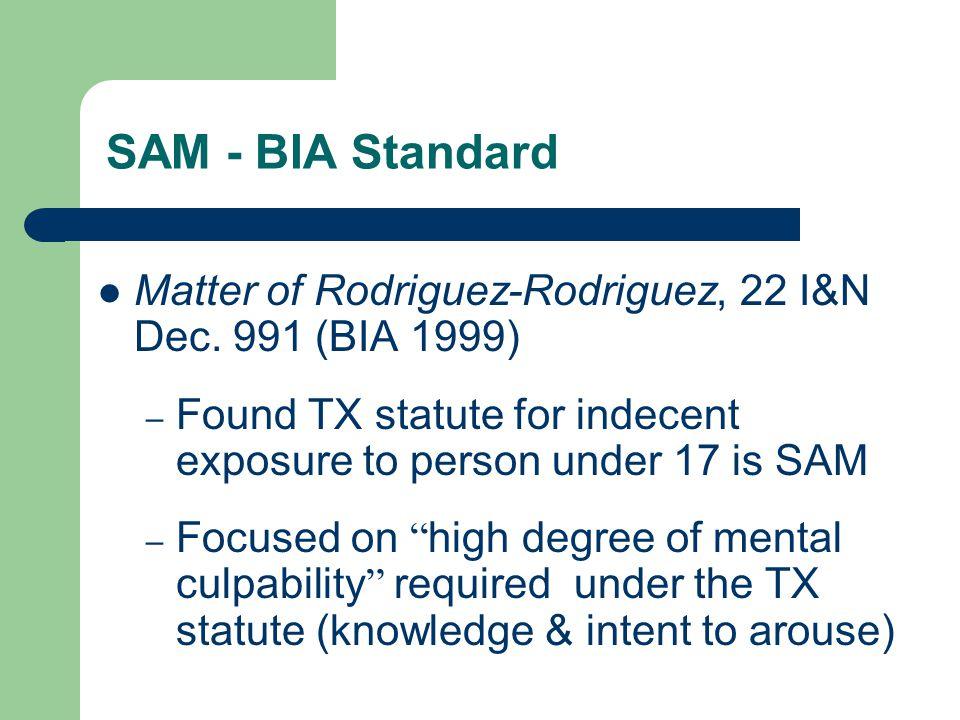 SAM - BIA Standard Matter of Rodriguez-Rodriguez, 22 I&N Dec.