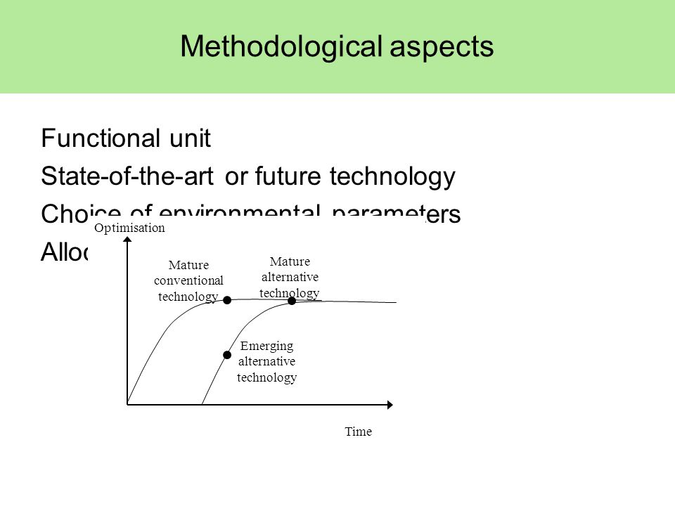 Methodological aspects Functional unit State-of-the-art or future technology Choice of environmental parameters Allocation method Optimisation Mature conventional technology Emerging alternative technology Mature alternative technology Time