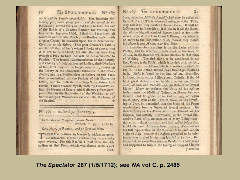 The Spectator 267 (1/5/1712); see NA vol C. p. 2485