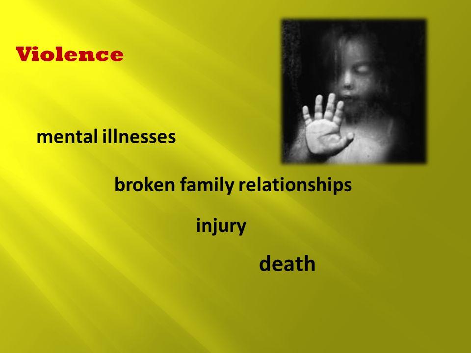 Violence mental illnesses broken family relationships injury death