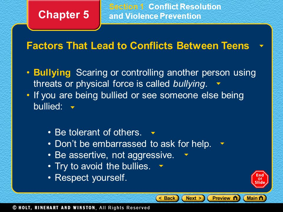 Section 1 Conflict Resolution and Violence Prevention Factors That Lead to Conflicts Between Teens Bullying Scaring or controlling another person usin