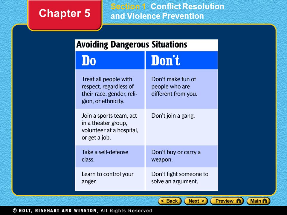 Section 1 Conflict Resolution and Violence Prevention Chapter 5