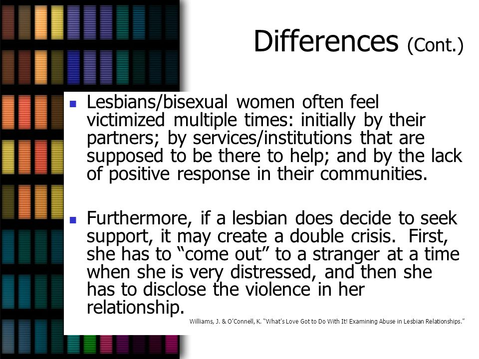 Differences (Cont.) Lesbians/bisexual women often feel victimized multiple times: initially by their partners; by services/institutions that are suppo