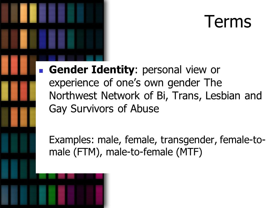 Terms LGBT: Lesbian, Gay, Bisexual and Transgender Queer: term used to put down LGBT people, but has been reclaimed and used positively by some LGBT people, especially youths and young adults (umbrella term for LGBT) Metrosexual is NOT an identity