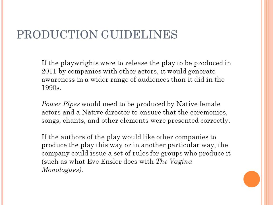 PRODUCTION GUIDELINES If the playwrights were to release the play to be produced in 2011 by companies with other actors, it would generate awareness in a wider range of audiences than it did in the 1990s.