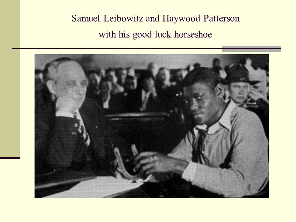 Samuel Leibowitz and Haywood Patterson with his good luck horseshoe