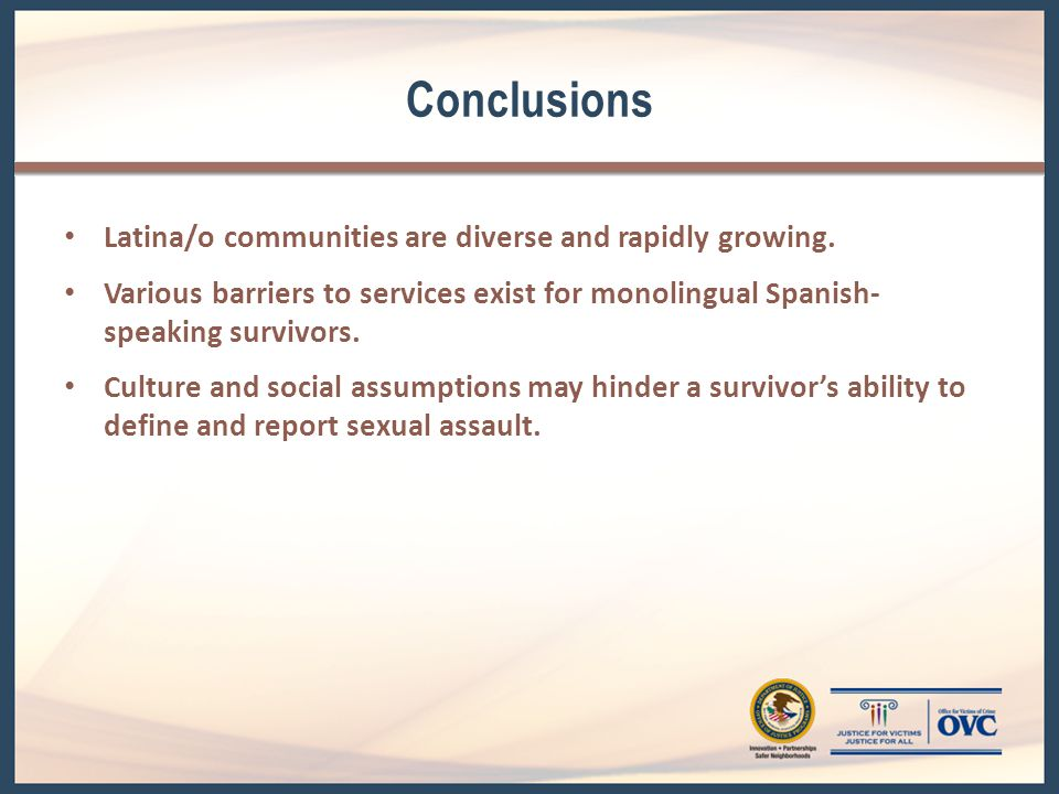 Conclusions (cont.) Language plays a key role in intervention and prevention.