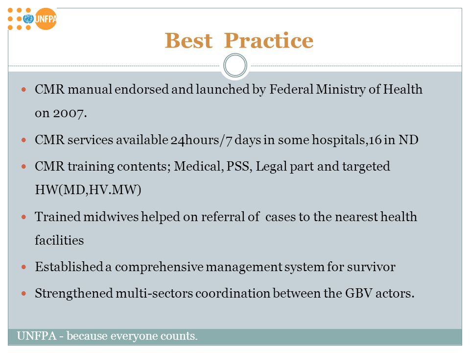 Best Practice CMR manual endorsed and launched by Federal Ministry of Health on 2007.