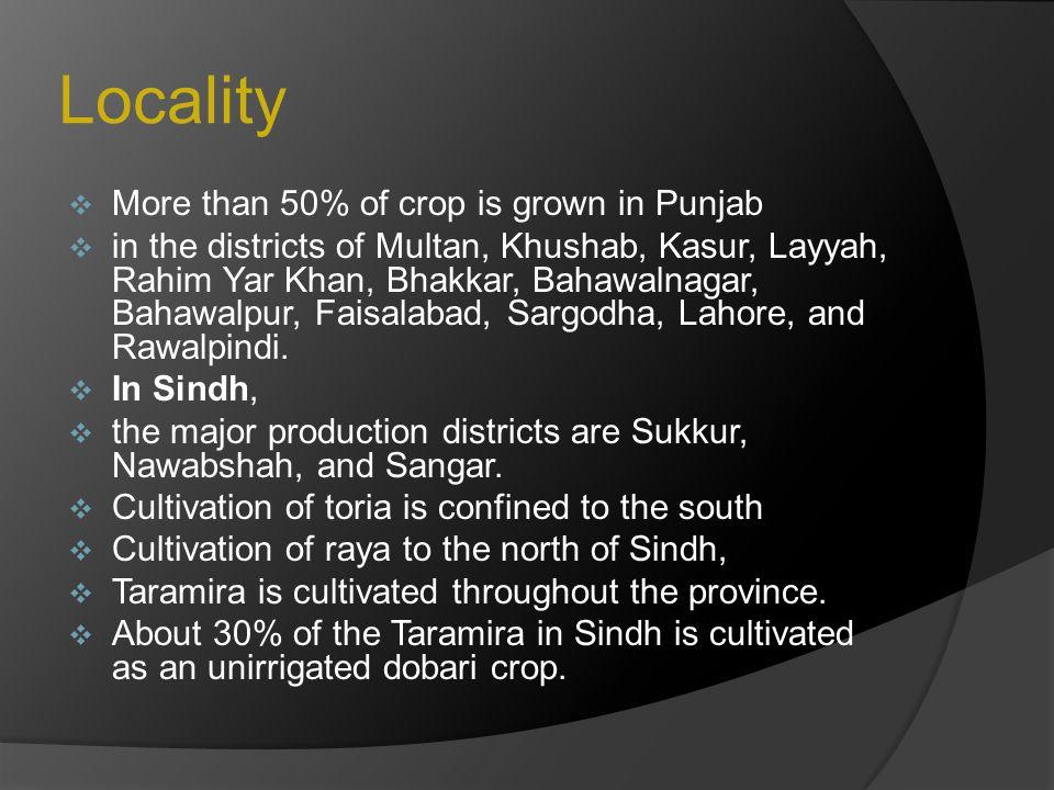 Locality  More than 50% of crop is grown in Punjab  in the districts of Multan, Khushab, Kasur, Layyah, Rahim Yar Khan, Bhakkar, Bahawalnagar, Bahaw