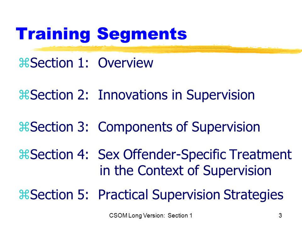 CSOM Long Version: Section 13 Training Segments zSection 1: Overview zSection 2: Innovations in Supervision zSection 3: Components of Supervision zSection 4: Sex Offender-Specific Treatment in the Context of Supervision zSection 5: Practical Supervision Strategies