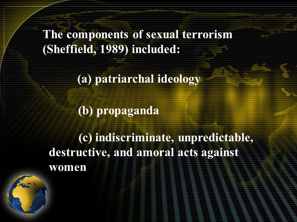 The components of sexual terrorism (Sheffield, 1989) included: (a) patriarchal ideology (b) propaganda (c) indiscriminate, unpredictable, destructive, and amoral acts against women