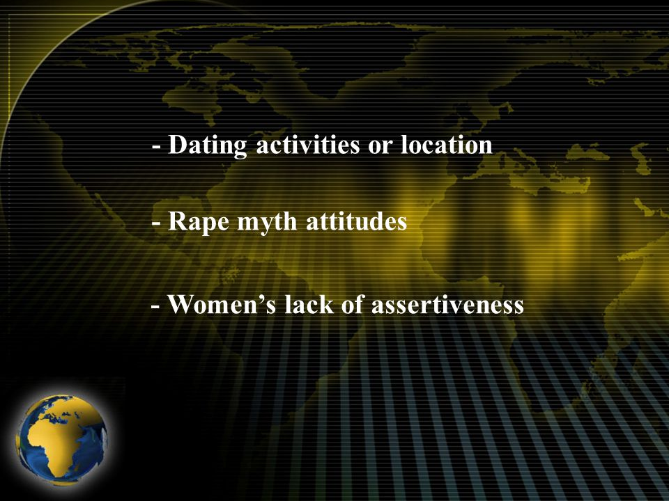 - Dating activities or location - Rape myth attitudes - Women's lack of assertiveness
