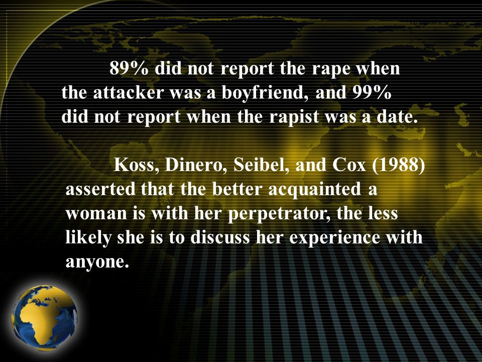 89% did not report the rape when the attacker was a boyfriend, and 99% did not report when the rapist was a date.