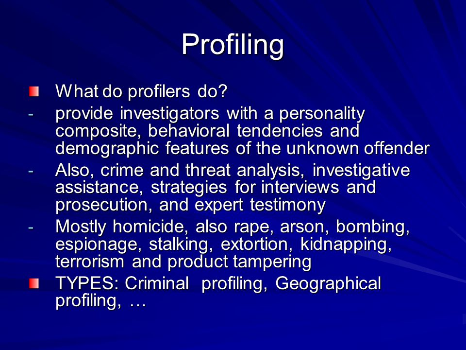 Where Does a Geographic Profile Fit.1. Occurrence of a crimes series 2.
