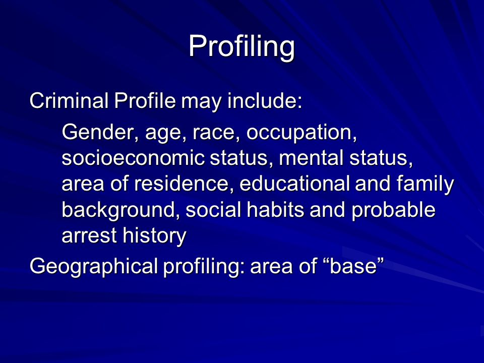 Homicidal trends Serial killers - generally target strangers, consistency in victim profile - Cooling off period - Trophies - At least 3 victims