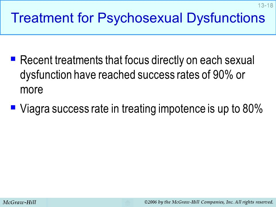 McGraw-Hill ©2006 by the McGraw-Hill Companies, Inc. All rights reserved. 13-18 Treatment for Psychosexual Dysfunctions  Recent treatments that focus
