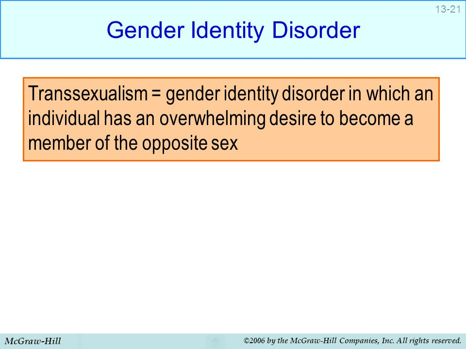 McGraw-Hill ©2006 by the McGraw-Hill Companies, Inc. All rights reserved. 13-21 Gender Identity Disorder Transsexualism = gender identity disorder in