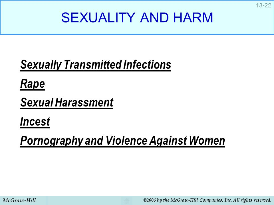 McGraw-Hill ©2006 by the McGraw-Hill Companies, Inc. All rights reserved. 13-22 SEXUALITY AND HARM Sexually Transmitted Infections Rape Sexual Harassm