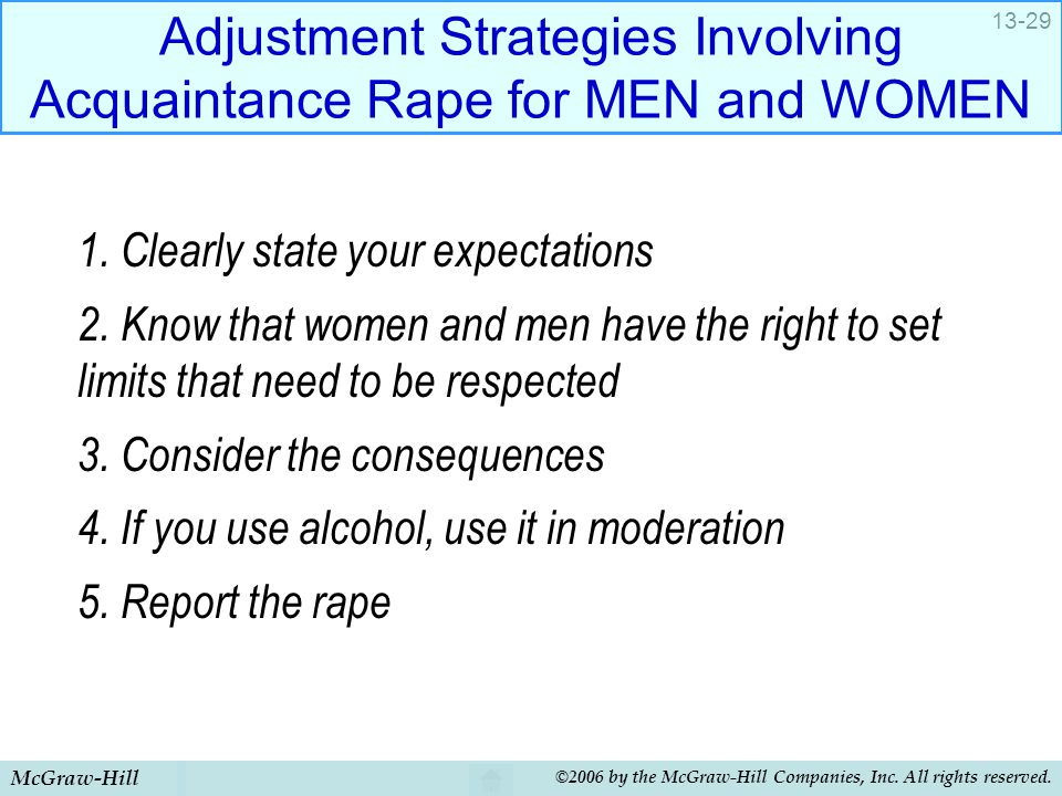 McGraw-Hill ©2006 by the McGraw-Hill Companies, Inc. All rights reserved. 13-29 Adjustment Strategies Involving Acquaintance Rape for MEN and WOMEN 1.