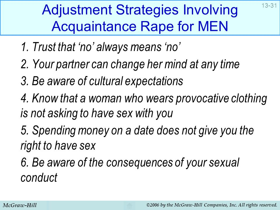 McGraw-Hill ©2006 by the McGraw-Hill Companies, Inc. All rights reserved. 13-31 Adjustment Strategies Involving Acquaintance Rape for MEN 1. Trust tha